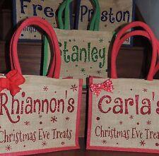 Personalised Red Glitter Christmas Eve Bag Jute Bag Christmas Eve Box