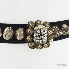 Shourouk Black Antique Tone Silver Sequin Cone Crystal Detail Waist Belt W26-28