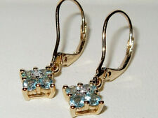 Gems TV 9ct Yellow Gold Apatite & Diamond Leverback Cluster Earrings