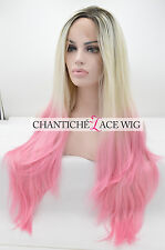 Laides Ombre Dark Roots Blonde Pink Heat Resistant Synthetic Hair Lace Front Wig