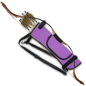 ARCHERY SIDE / BACK BOW HOLDER ARROW QUIVER WITH ZIPPER POCKET 151115PURPLE