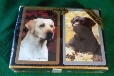 VINTAGE PLAYING CARDS CONGRESS CEL-U-TONE GOLDEN/CHOCOLATE LABRADORS SEALED