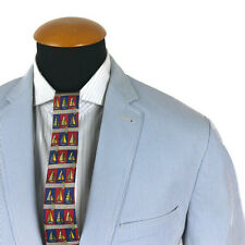 Men's Mario Barutti Blazer Taille 40R Slim coton manteau rayé 50 Elbow Patch B18