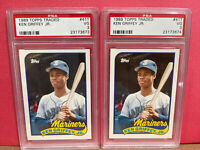 (2) Lot 1989 Topps Traded Ken Griffey Jr PSA 3 #41T Hall of Fame Rookie HOF RC