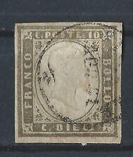ANTICHI STATI 1861 sardegna 10 CENTESIMI GRIGIO OLIVASTRO SCURO C/4001