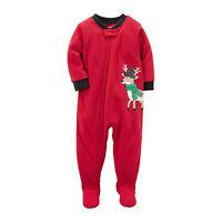 Carter's Red One Piece Fleece Footed Pajama for Baby Boys - Christmas Sleeper