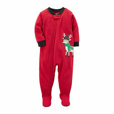 Carter's Red One Piece Fleece Footed Pajama for Baby Boys - Christmas Sleeper