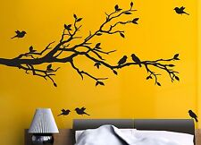 "78""x37"" Tree Branch with 10 Birds in BLACK Wall Decal Art Sticker Mural"