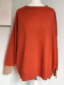 KIN John Lewis Rust Orange Camel Jumper S UK 10 12 Side Zip w/ Wool Alpaca Loose