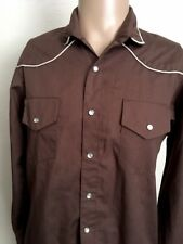 VTG ~ UNBRANDED PEARL SNAP L/S WESTERN SHIRT ~ Chocolate Brown ~ Piping Detail~M