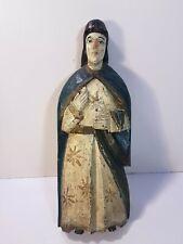 Ancienne sculpture statue religieuse en bois polychrome figurant une Sainte