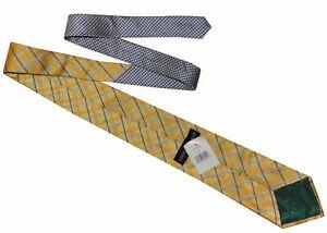 TOMMY HILFIGER Wide Mens Yellow Blue Plaid Pattern Silk Necktie Tie > RRP £50