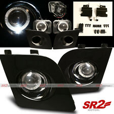 Black Fog Lamp White Halo LED Bumper Lights fits 06 07 Subaru Impreza WRX STI