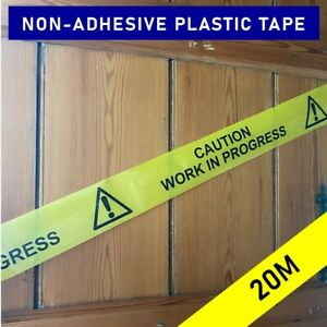 CAUTION WORK IN PROGRESS non-adhesive hazard warning cordon barrier tape - 20M