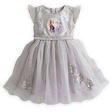 NEW Authentic Disney Store Frozen Deluxe Party Dress with ELSA & ANNA SZ 9/10