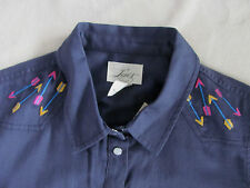 Levi's Western Long Sleeve Shirt-Blue -Embroidered Arrows-Size XS -NWT $78