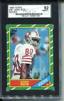 1986 Topps Football #161 Jerry Rice Rookie Card RC Graded SGC NM Mint+ 92 8.5