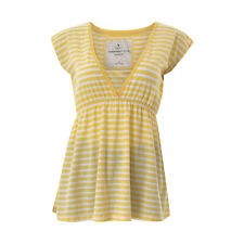ABERCROMBIE&FITCH Women's Top Size L Sleeveless Yellow Striped V-neck Authentic