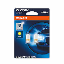 2x Genuine Osram Diadem WY5W (501a) 5w 12v Chrome Amber Bulbs [2827DC-02B]