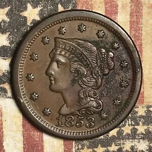 1853 Braided Hair Large Cent Copper Collector Coin for your Collection or Set.
