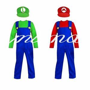Kids Boys Super Mario and Luigi Costumes Plumber Bros Halloween Book Fancy Dress