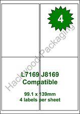 4 Labels per Sheet x 100 Sheets L7169 / J8169 White Matt Copier Inkjet Laser