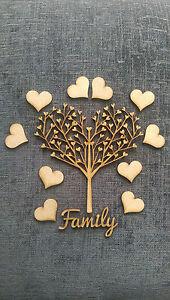 Family Tree Kit Set Heart Maker MDF Laser Cut Wooden Craft Blank Wedding