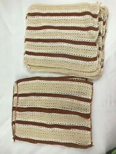 Lot Of 8 Brown White Tan Hand Towels Dish Clothes