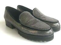 Donald J. Pliner Silver Metallic Loafers Womens 6 Elen Black Shoes Leather