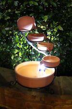 ASC Sundance Terracotta Solar Water Fountain Cascade w/ Battery/Timer LED Lights