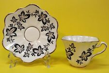 BLACK & WHITE FLORAL ROSINA BONE CHINA CUP & SAUCER ( Made In England ) EUC