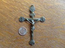 Antique French Bronze Mission Souvenir Crucifix Rosary Cross Pendant France