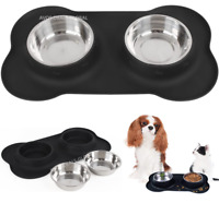 Stainless Steel Double Pet Bowl Dog Cat Twin Food Water Dish Feeding Station UK