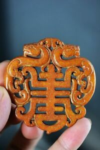 Delicate Chinese Old Jade carved * Dragon & Shou * Pendant D15