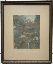 Wallace Nutting Print  Garden of Larkspur Hand Colored Photograph Signed c. 1914