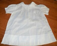 Vintage Hand Made Baby Doll Linen Dress Pin Tucks Embroidery Scalloping Size 2
