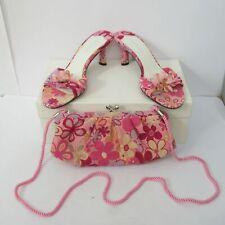 Nine West Bold Y2K Pink Floral Mules Kitten Heel Size 7W/ UK 5 w/ Matching Bag