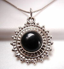 Black Onyx Pendant 925 Sterling Silver Miniature Silver Dot Accents New