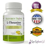 L-THEANINE 200mg 120 Capsule Double Strength Promotes Relaxation Memory Function