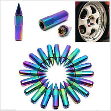 20Pcs Aluminum Neo Chrome Slick Spike Wheel Lug Nuts Bolts Spiked M12X1.25 Tuner