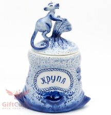 Gzhel porcelain grain Bowl Jar with a mouse as a lid handmade figurine 2020 N.Y.