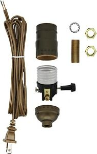 Make a Lamp or Repair Kit - All Essential Hardware, 3 Way Socket - Antique Brass