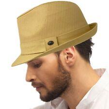 Men's All Season Cotton Short Brim Derby Fedora Classic Gangster Hat Khaki L/XL