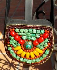AMBER CORAL TURQUOISE GLASS BEADED HAND BAG PURSE NEPAL WITH FREE SHIPPING
