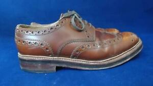 GRENSON UK 9 G GIBSON STYLE BROWN LEATHER TRIPLE SOLE BROGUES