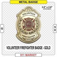 Volunteer Firefighter Badge GOLD Color fire fireman VFF FD Department Patch G50