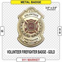 Volunteer Firefighter Badge GOLD Color fire fireman VFF FD Department Patch G50
