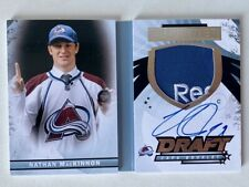 2015-16 UD PREMIER NATHAN MACKINNON #DH-NM BOOKLET AUTO JERSEY 11/15 COLORADO