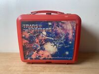 VINTAGE 1984 TRANSFORMERS G1 HASBRO ALADDIN RED PLASTIC LUNCH BOX OFFICIAL
