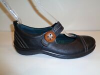 Ecco Size 7 to 7.5 Eur 38 GLEBE BUTTON Black Leather Mary Janes New Womens Shoes